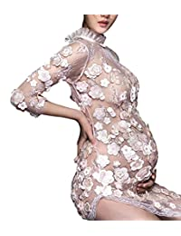 Maternity 3D Floral Photography Gowns 3/4 Sleeve See Through Voile Long Dress with Split Side