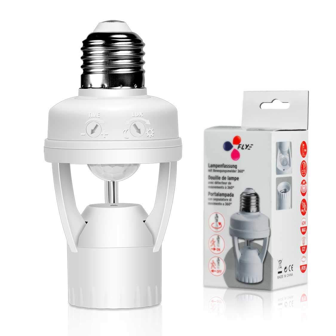 Motion Sensor Light Lamp Socket Adapter for LED Light Lamp Base Holder Smart Radar Motion Sensor Holder E26/E27 to E26/E27 Lamp Bulb Adapter for Garage/Porch/Stairs