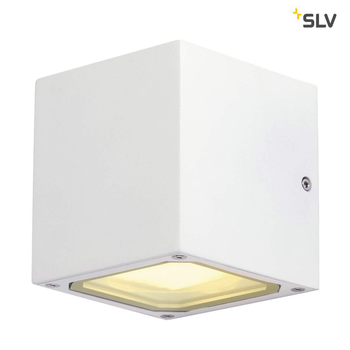 SLV Wandlampe SITRA CUBE fü r die effektvolle Auß enbeleuchtung von Hauseingang, Wä nden, Wegen, Terrassen, Fassaden, Treppen | LED Wandleuchte, Aussenleuchte, Gartenlampe | 2x GX53, max. 9W, B - A++ 232531