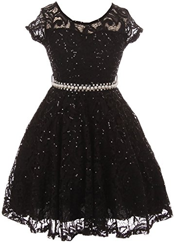 Flower Girl Dress Cap Sleeve Sequin Skater Lace Dress Pearl Belt for Big Girl Black 14 JKS2102