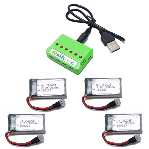 3.7V 380mah Lipo Battery with X4 Battery Charger for Controller of Drone HS230 GBlife Bounce Car TOZO Q2020 X4 H107C H107L H107D H107P H108 Holy Stone HS170G HS170 HS170C Protocol Dronium One