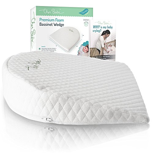 Cher Bb Oval Bassinet Wedge Pillow for Acid Reflux | High Incline for Colic | Cotton & Waterproof Covers | Baby Sleep Positioner for 15