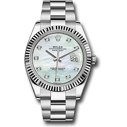 ROLEX DATEJUST 41 STEEL AND WHITE GOLD MOTHER OF PEARL DIAMOND DIAL OYSTER BRACELET 41MM