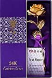 """Lavanaya Silver Certified 24 Kt Golden Rose 10 Inch with Gift Box""""…"""