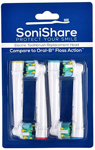Generic Floss Action Replacement Toothbrush Heads for Oral B Toothbrushes, 4 Pack