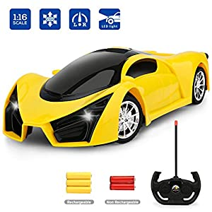 Remote Control Car, RC Car for Kids and Boys with Cool Led Lights,2.4Ghz 1/16 Scale Model Racing Car Toys,Electric Sport…
