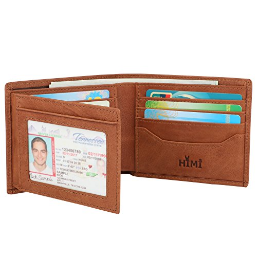 Wallets for men rfid blocking trifold genuine leather for 2 id window wallet