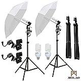 SUNCOO 2 x 33 Photo Studio White Umbrella Reflector Lamp Photography Stand Lighting Kit