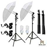 SUNCOO 2 x 33 Photo Studio White Umbrella Reflector Lamp Photography Stand Lighting Kit