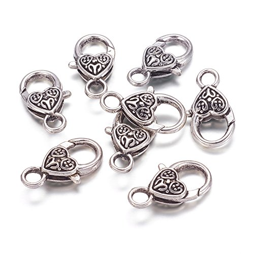 KISSITTY 50-Piece Tibetan Antique Silver Large Heart Lobster Claw Clasps Lead & Nickel & Cadmium Free 1x0.55 Jewelry Making Findings