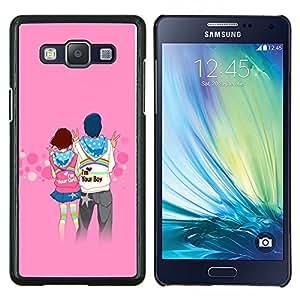 TECHCASE---Cubierta de la caja de protección para la piel dura ** Samsung Galaxy A5 ( A5000 ) 2014 Version ** --Pares del amor lindo