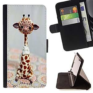 Devil Case- Estilo PU billetera de cuero del soporte del tir¨®n [solapa de cierre] Cubierta FOR Samsung Galaxy S3 MINI I8190- Giraffe Cute Cartoon