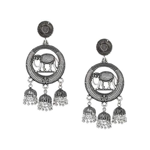 Bodha Silver Plated Oxidised Elephant Jhumka Earring with Pearl Hanging for Women (SJ_1453) ()