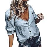 Spbamboo Women Blouse Fashion Casual V-Neck Top Ladies Loose Long Sleeve T Shirt