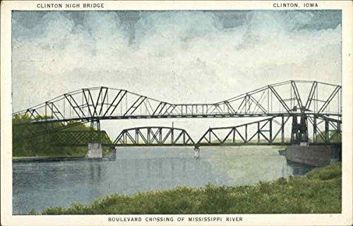 Boulevard Crossing of Mississippi River Clinton, Iowa Original Vintage - Crossing Clintons
