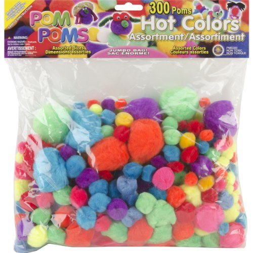 Pepperell Assorted Pom Poms, Hot Colors, 300 Per Package