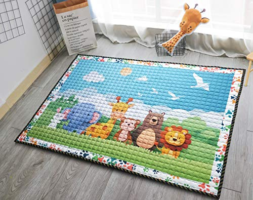 Buy Cheap Moiré Baby 3D Paper Craft Animal Learning Play Mat Extra Large 76 in. x 58 Padded Crawlin...
