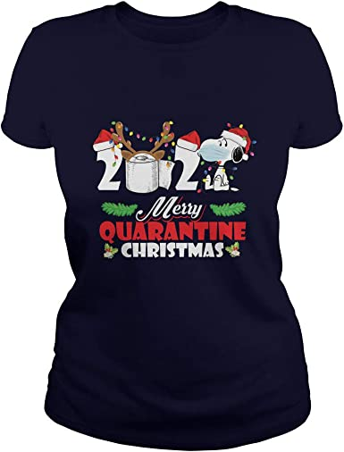 Snoopy Merry Quarantine Christmas Social Distancing T-Shirt ...