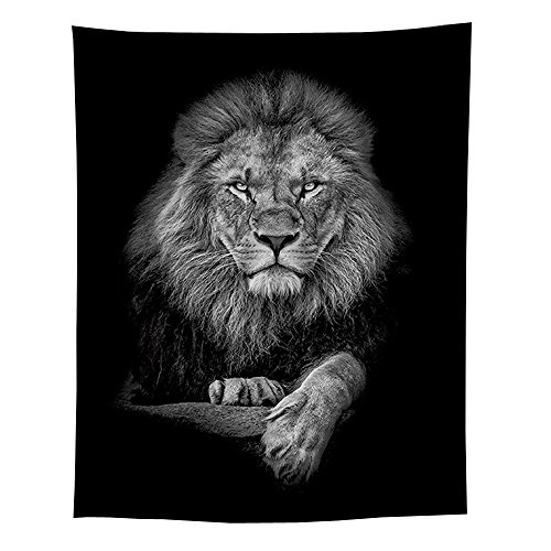 JaYe Black and White Tapestry,Animal Lion Tapestry,Mandala Tapestry, Hippie Wall Hanging Tapestry for Living Room Bedroom, Wall Decor Tapestry.(59''x79'' (Lion) by JaYe