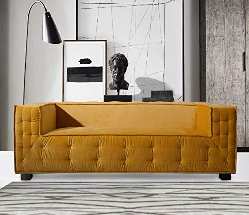 Iconic Home Bryant Sofa Velvet Upholstered Tufted Wide Armrest Tight Back Shelter Arm Design Espresso Finished Wooden Legs Modern Contemporary, YELLOW