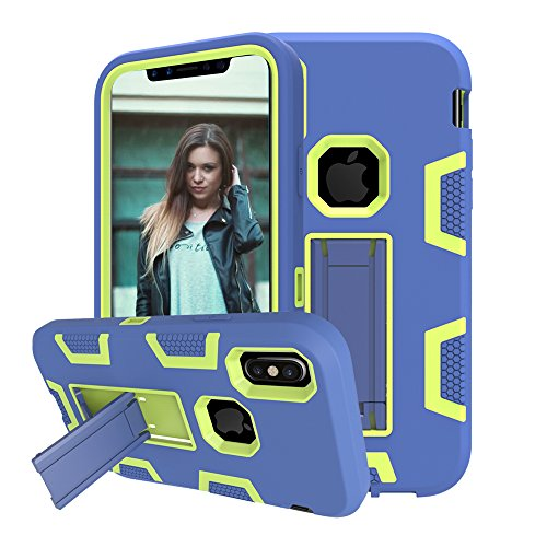 Case Protector Rubberized Black Shield (iPhone X Case, KAMII [Heavy Duty] Kickstand 3in1 Shock Absorbing Hard PC+Soft Silicone Hybrid Rubber Combo Armor Hard Case Cover with Built in Stand for Apple iPhone X (Navy+Green))