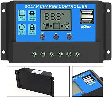 Qaurora Solar Laderegler Intelligenter Laderegler mit Dual USB 5V Ausgang für Solarpanel Batterielampe Überlastungsschutz (30A)