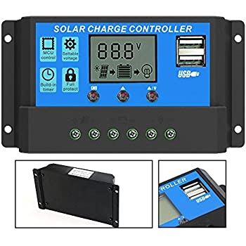 PowMr 40A 30A 20A 10A 12V 24V Intelligent Solar Panel Battery Regulator Charge Controller Switch Dual USB LCD Display (40A)