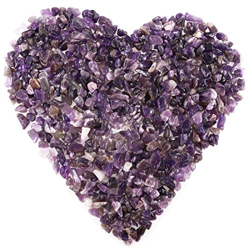 Hilitchi Amethyst Quartz Tumbled Chips Stone Crushed Crystal Natural Rocks Irregular Shape Healing Home Indoor Decorative Stones for Vases Plants Succulents Garden (About 1lb(455g)/Bag)