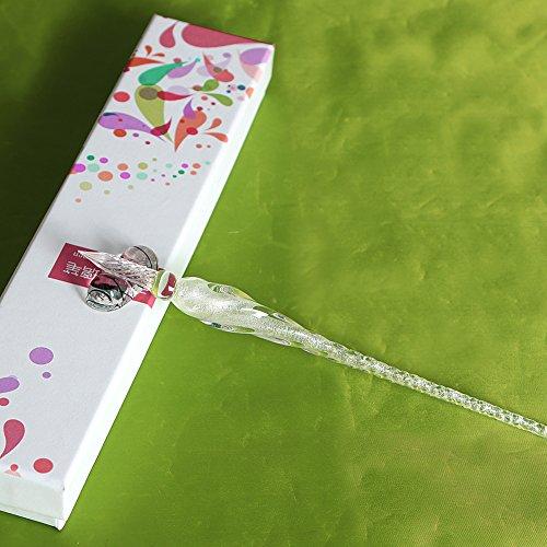 Glass Dip Pen Vintage Handmade Glass Signature Pen Elegant Crystal Dip Sign Pen Great Gift (Transparent)