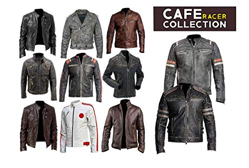 (Men's Vintage Motorcycle Cafe Racer Retro Moto Distressed Leather Jacket)