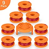SUERW Line String Trimmer Replacement Spool, [9-Pack] 10ft 0.065'' Replacement Autofeed Spool for Worx String Trimmer [8 Replacement Line Spool, 1 Trimmer Cap]
