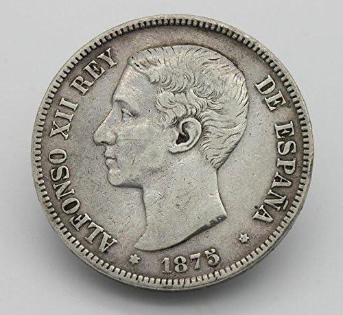 Desconocido Moneda de 5 Pesetas de Plata del Año 1875 Durante La ...