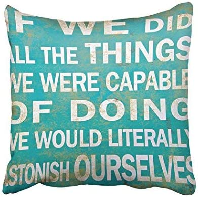 Home Decor Pillow Case 18 X18 Words Old Sign With Inspirational Motivating Quote From Thomas Edison Abstract Capable Cushion Covers Decorative Square Throw Pillow Covers For Sofa Home Accessory Gifts Amazon Co Uk Kitchen