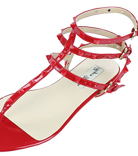 strap Leather Women's Sandals Gladiator Flats Studded Beach Yiuoer Red Royou Sandals T 0AEqOZx