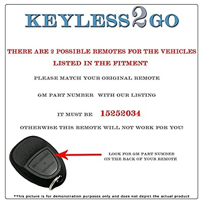 Keyless2Go New Keyless Entry Replacement Remote Car Key Fob for Select Malibu Cobalt Lacrosse Grand Prix G5 G6 Models That use 15252034 KOBGT04A Remote: Automotive