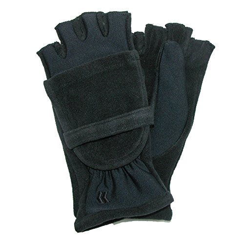 Convertible Flip Gloves Mittens (Isotoner Women's Fleece Stretch Convertible Gloves with Thumb Hole, 1 size,)