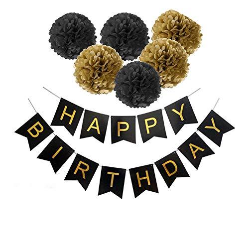 Noon-Sunshine decorative-plaques Happy Birthday Banner Tissue Paper Tassel Bunting Garland Pom Pomsation,Style 12 -