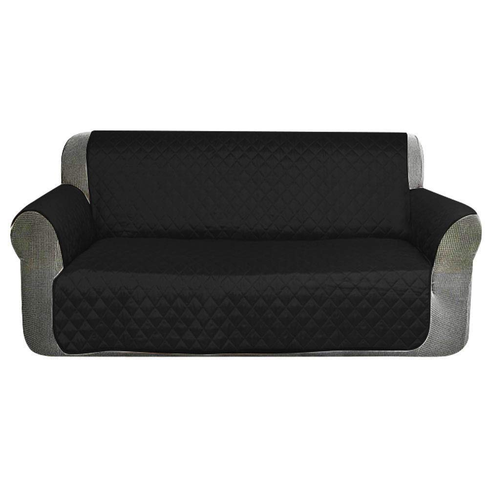 HONCENMAX Sofa Covers Slipcovers Protection Against Pets//Dogs//Kids and Stains Quilted Furniture Protector with Elastic Strap 2 Seater - 90 X 75 Black