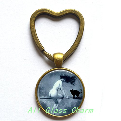 Beautiful Heart Keychain,Halloween Heart Key Ring - Victorian Nude Witch Riding a Broom - Witch and Black Cat - Nude Witch Heart Keychain - Halloween Costume Jewelry - Sexy Witch,AS0161