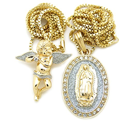Gold Silver Tone Baby Angel, Virgin Mary Pendant 24
