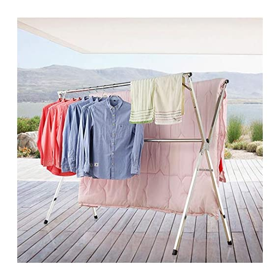 Reliancer Free Installed Clothes Drying Rack Stainless Steel Foldable Rack Hanger Space Saving Retractable 43.3-59 inch Clothes Rack Adjustable Clothes Hanger Rolling Rack with 4 Casters & 10 Hooks - 【All Stainless Steel Construction】The material including the fastenings is rust-proof stainless steel, perfect for indoor or outdoor drying, will not rust even under rainy environment 【Extensible Horizontal Rods】Both rods can be extended from 43.3'' to 59'', the max size is 59x30x52 inch, add more room for longer garments like pants and long dresses 【Free Installation and Save Space】Retractable and foldable, easy to open and fold for compact storage to save space, no need tools to install. The folding size is just 59x4.72x3.54 inch. You can just put it in any small corner when you do not need - laundry-room, entryway-laundry-room, drying-racks - 51WAsyGcyHL. SS570  -