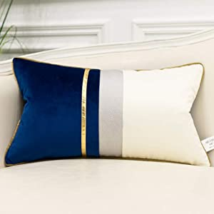 Avigers 12 x 20 Inches Navy Blue White Gold Leather Striped Patchwork Velvet Cushion Case Luxury Modern Throw Pillow Cover Decorative Pillow for Couch Living Room Bedroom Car
