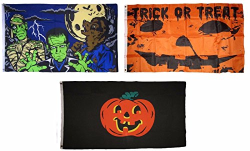 ALBATROS 3 ft x 5 ft Happy Halloween 3 Pack Flag Set #22 Combo Banner Grommets for Home and Parades, Official Party, All Weather Indoors Outdoors ()