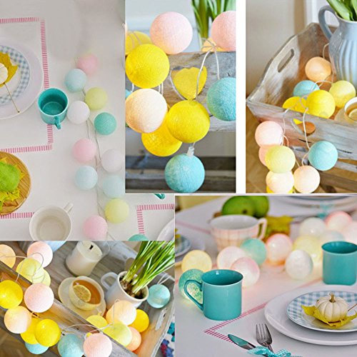 ASERTYL 20 Cotton Ball String Lights Fairy Hanging Wedding Bedroom Living Room Patio Children String Bedroom Window Decoration Hollow Snowflake Snow Balls Outdoor Tent Lamp