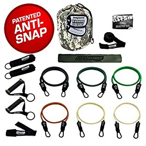 Bodylastics The Military Ready Warrior Resistance Band Sets come with 6 or 8 of Our Anti-Snap Exercise Tubes, Heavy Duty components, a Band Barrier and a small anywhere anchor (15 pcs - 156 lbs set).