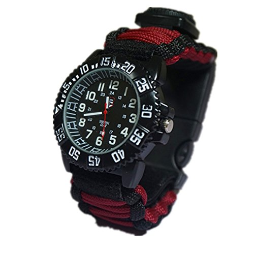 Survival Paracord Watch,8-in-1 Emergency Survival Kits with Paracord,Rescue Knife,Compass,Whistle, Thermometer,Water Resistance Men Women Watches, Glows in The Dark (Red)