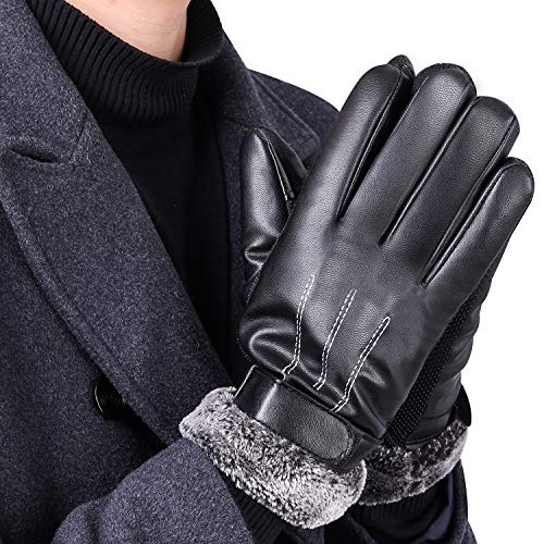 Luxury Mens Touchscreen Gloves,Texting Winter Italian Nappa Leather Dress Driving Gloves (Cashmere/Wool/Fleece Lining)