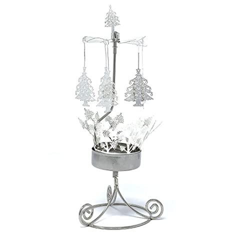 Christmas Tree Candle Holder.Banberry Designs Christmas Tree Candle Holder Spinning Candle With Laser Cut Design Carousel Candle Rotating Candle Holder