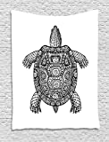 Ambesonne Turtle Tapestry, Tribal Patterns on Turtle Illustration Monochrome Animal Themed Tortoise Print, Wall Hanging for Bedroom Living Room Dorm, 60 W x 80 L inches, Black and White