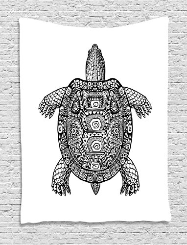 Ambesonne Turtle Tapestry, Tribal Patterns on Turtle Illustration Monochrome Animal Themed Tortoise Print, Wall Hanging for Bedroom Living Room Dorm, 60 W x 80 L inches, Black and White by Ambesonne